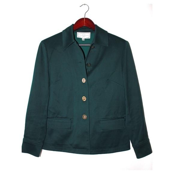 St. John Jackets & Blazers - St. John Hunter Green Boxy Fit Jacket